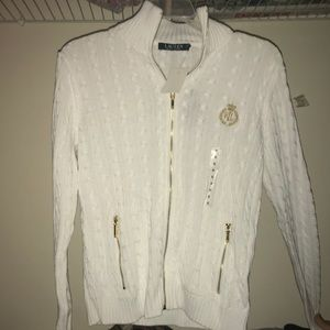 Ralph Lauren Zip Up Gold Crest Sweater